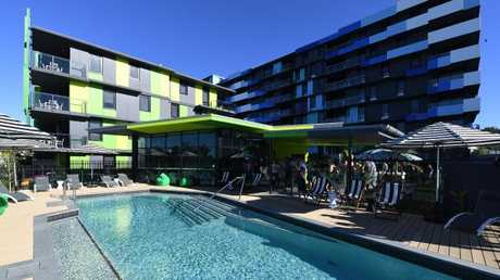 A swimming pool in the athletes village on the Gold Coast. Picture: AAP Image/Dave Hunt