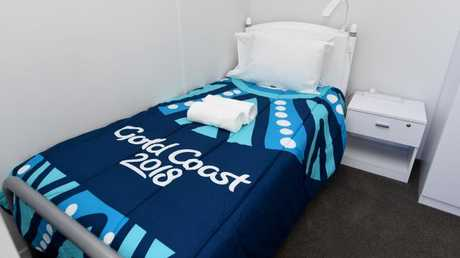 A bedroom in the athletes accommodation. Picture: AAP Image/Dave Hunt