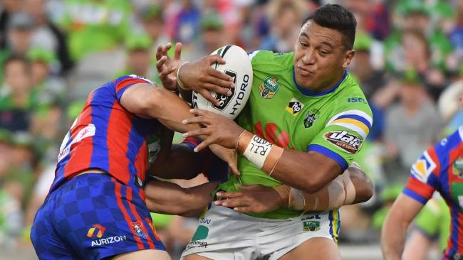 Josh Papalii on the charge for the Raiders against the Knights at GIO Stadium.
