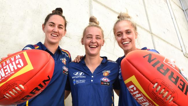 Sharni Webb, Nicole Hildebrand and Kaitlyn Ashmore are ready for the Grand Final. Picture: AAP Images