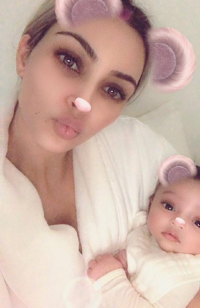 Kim Kardashian has shared a new pictured with her baby daughter, Chicago West. Picture: Instagram @kimkardashian