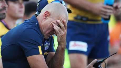 An unhappy Eels coach Brad Arthur watches on from the sidelined. Picture: Phil Hillyard