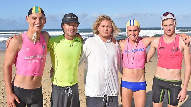Surf lifesavers Cooper Miskell (Burleigh Heads Mowbray Park), Chris Maynard (Currumbin), Bailey Williams (Alexandra Headland), Liam Albertsen (Kurrawa) and Jack Moore (Northcliffe) after the rescue.