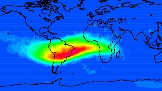 The South Atlantic Anomaly is an area where Earth's magnetic field is at its weakest. Picture: Cnes/CLS