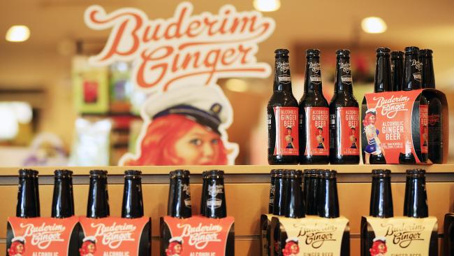 Range of drinks made by Buderim Ginger. Picture: Lachie Millard