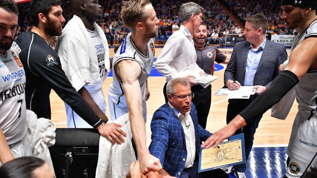 ADELAIDE, AUSTRALIA — MARCH 18: Dean Vickerman head coach of Melbourne United talks to his players during game two of the NBL Grand Final series between the Adelaide 36ers and Melbourne United at Titanium Security Area on March 18, 2018 in Adelaide, Australia. (Photo by Daniel Kalisz/Getty Images)