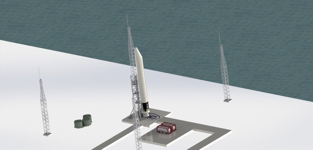 A 3D rendering of what the proposed launch site would look like.
