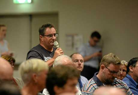 Craig Allen speaking at the Rockhampton town hall meeting hosted by Opposition Leader Bill Shorten.