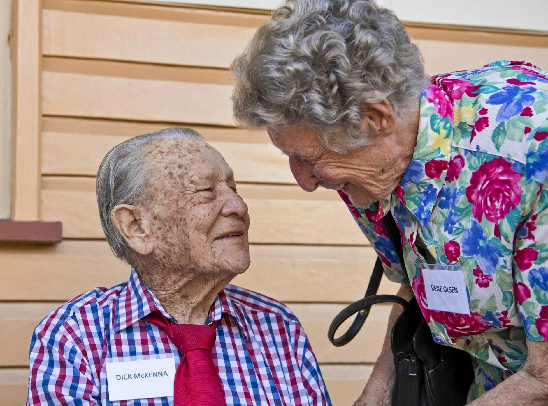 LEST WE FORGET: 25th Battalion veteran Dick McKenna greets Rene Olsen, widow of fellow veteran Kev Olsen, at the 76th anniversary of the departure of 25th Battalion troops from Spring Bluff Railway Station.