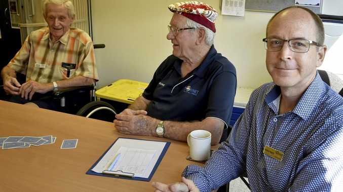 PART OF GROUP: George Adams (left) and Anthony Hegarty chat at the Toowoomba Older Men's Network.