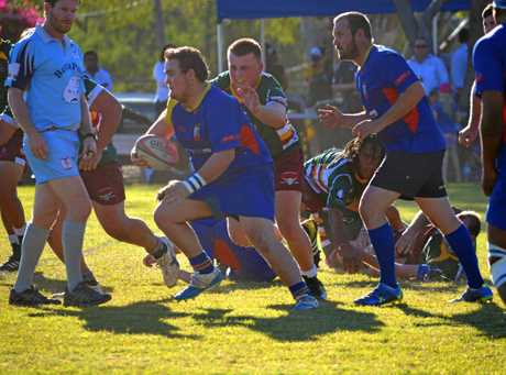 Gladstone Goats' prop Dylan Johnson makes some metres against Frenchville in the elimination semi-final at Moura. August 12, 2017.