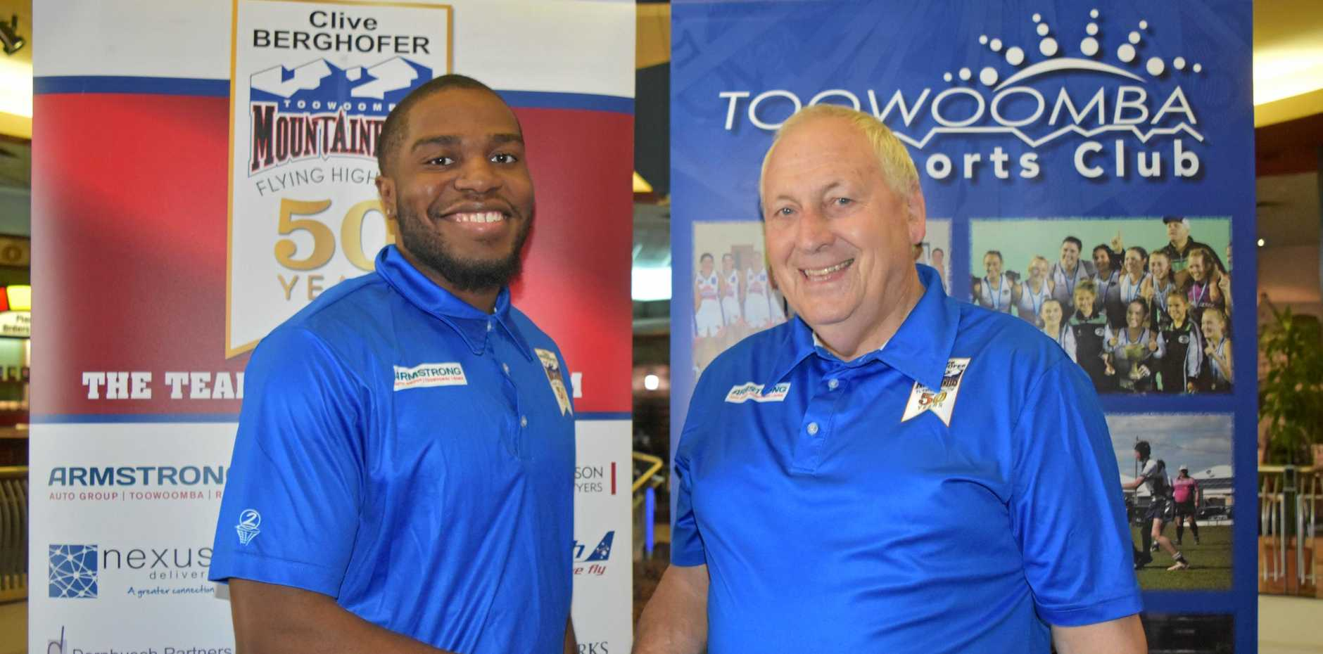 IMPORT SIGNING: New Toowoomba Mountaineers recruit Damon Bozeman (left) with chairman John Gouldson.