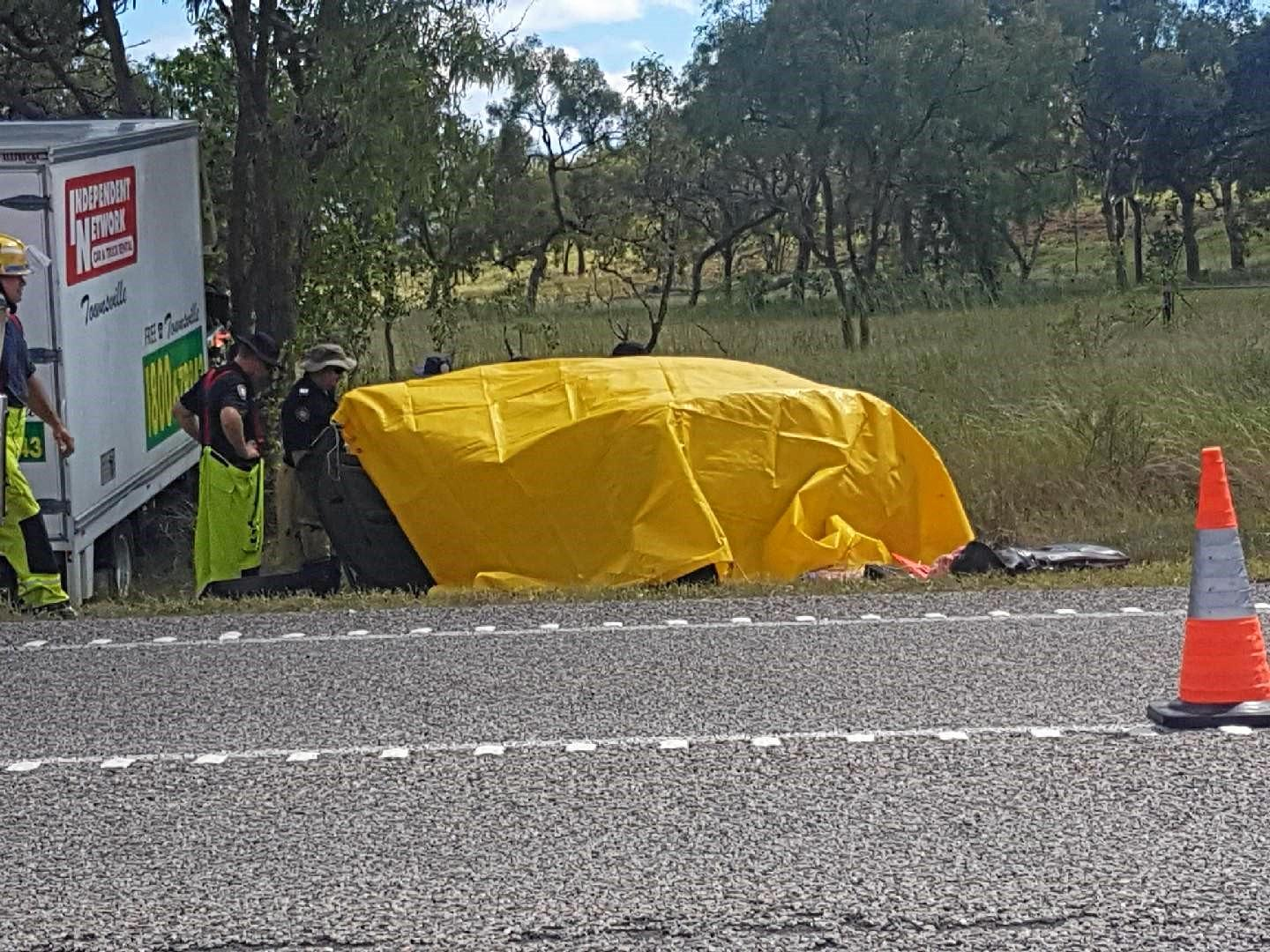 Scene of the car and truck crash on the Bruce Highway at Gumlu near Nobile Rd about 8.30am on Monday 19 March