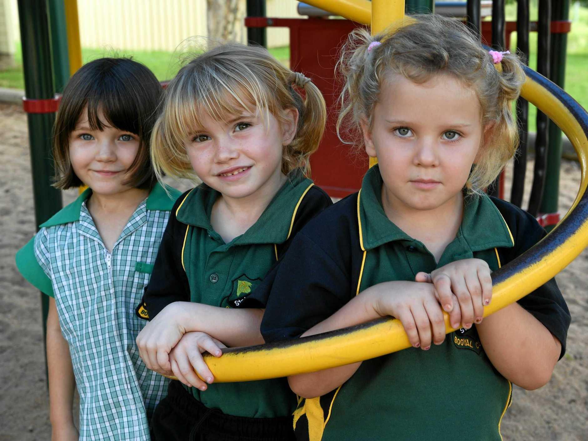 BOOYAL CENTRAL STATE SCHOOL PREP: Sophia Mandrek, Tara Wallis and Olivia Vaughan.