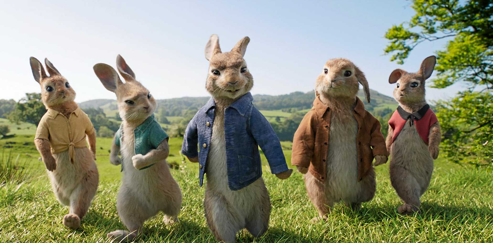 Mopsy (Elizabeth Debicki), Cottontail (Daisy Ridley), Peter Rabbit (James Corden), Benjamin (Colin Moody) and Flopsy (Margot Robbie) in a scene from the movie Peter Rabbit. Supplied by Sony Pictures.