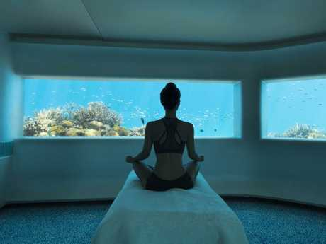 Enjoy being pampered at the world's first underwater spa. Picture: Huvafen Fushi.