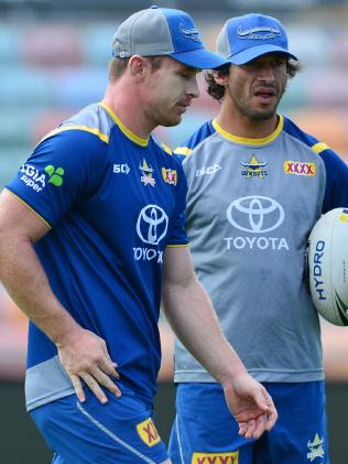 Morgan offers something different to Johnathan Thurston. (Evan Morgan)