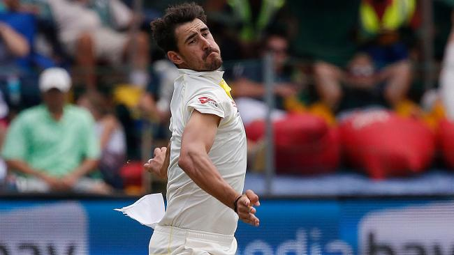 Mitchell Starc in action during the second Test against South Africa.