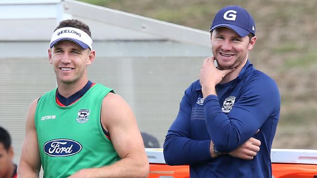 Joel Selwood and Patrick Dangerfield at Geelong training.