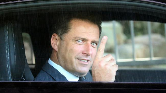 Karl Stefanovic is all smiles as he leaves Channel Nine this morning. Picture: Diimex
