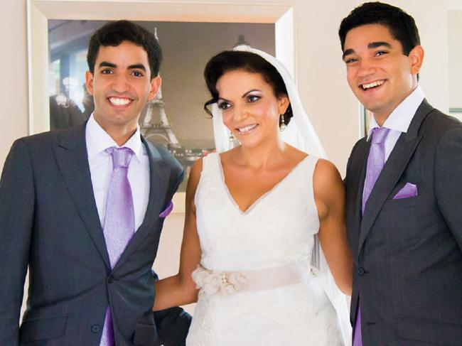 Anne's sons Adam and Karim walked her down the isle to her second wedding in 2013.