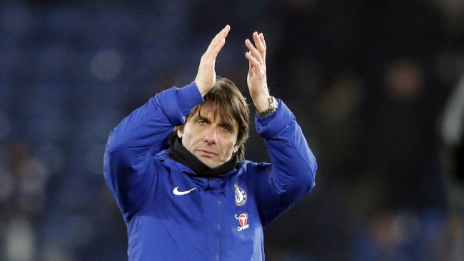 Chelsea's team manager Antonio Conte greets supporters at the end of the English FA Cup quarterfinal soccer match between Leicester City and Chelsea