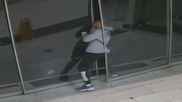 An alleged burglar gets stuck in a door. Picture: Victoria Police