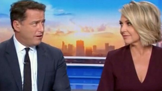 "Georgie Gardner calls Karl Stefanovic ""pathetic"" in an awkward on-air exchange. Picture: Today / Channel 9"