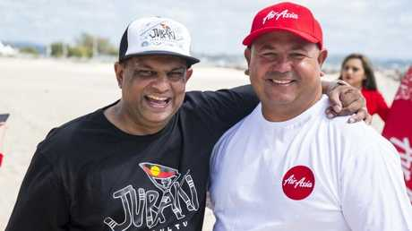 AirAsia boss Tony Fernandes and Joel Slabb of Jurakai Surf Culture.