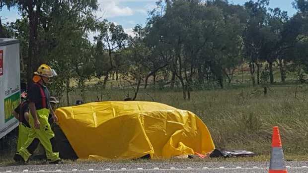 The scene of a fatal crash on the Bruce Highway near Gumlu. March 19, 2018. Photo Kyle Evans