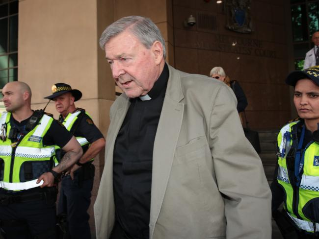 Cardinal George Pell attended a hearing at Melbourne Magistrates Court today. Picture: Stefan Postles/AAP