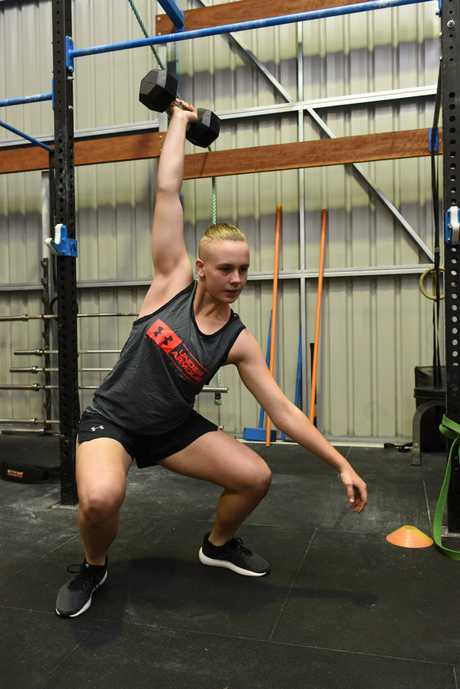 Rhyleigh Moller at crossfit training.