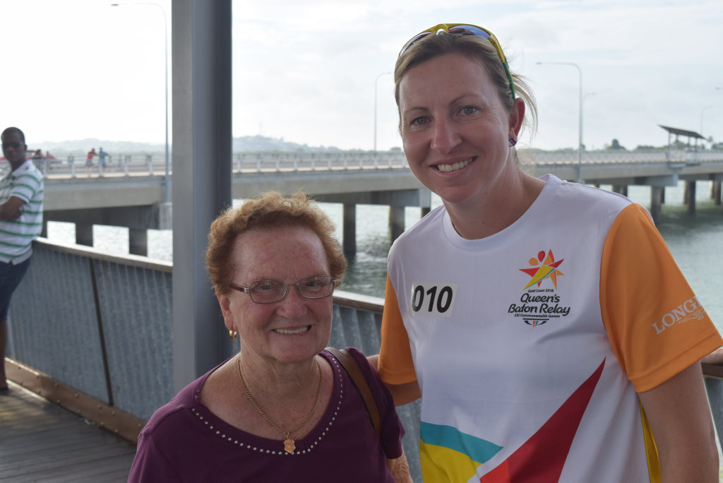 Image for sale: Bianca Dalponte and Georgia Dahlenbury waiting for the Queen's baton