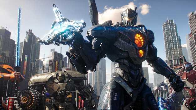 Jaegers prepare to fight Kaiju in scene from the movie Pacific Rim Uprising.