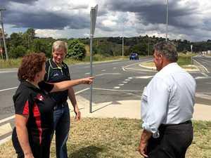 MINDEN CROSSROADS: Barb Frohloff shows Jim McDonald the dangerous intersection.