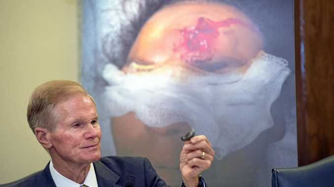 EVIDENCE Ranking Member Bill Nelson talks about shrapnel from a defective Takata airbag during a Senate investigation into the mechanism.
