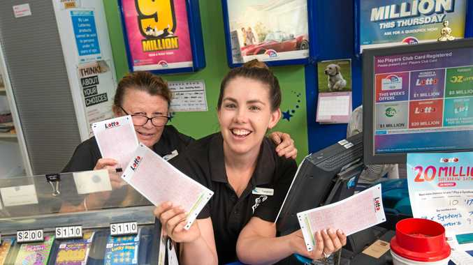 WINNING WAYS: Debbie Hanigan and Teaghan Ford from Moonee Beach Newsagency celebrate being a winning business.