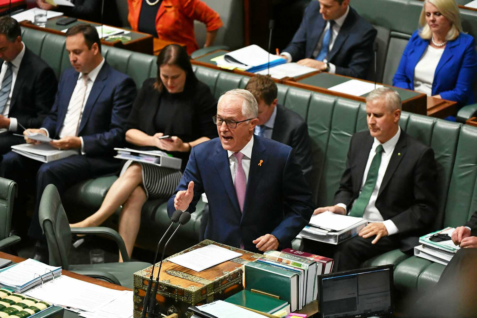 Prime Minister Malcolm Turnbull during Question Time in the House of Representatives at Parliament House in Canberra. (AAP Image/Mick Tsikas)