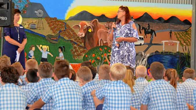 MURAL UNVEILED: Susie Capewell delivered her artist statement to St Joseph's Primary School on Monday, March 19.