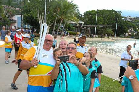 John Dickinson stops for a selfie at the lagoon yesterday.