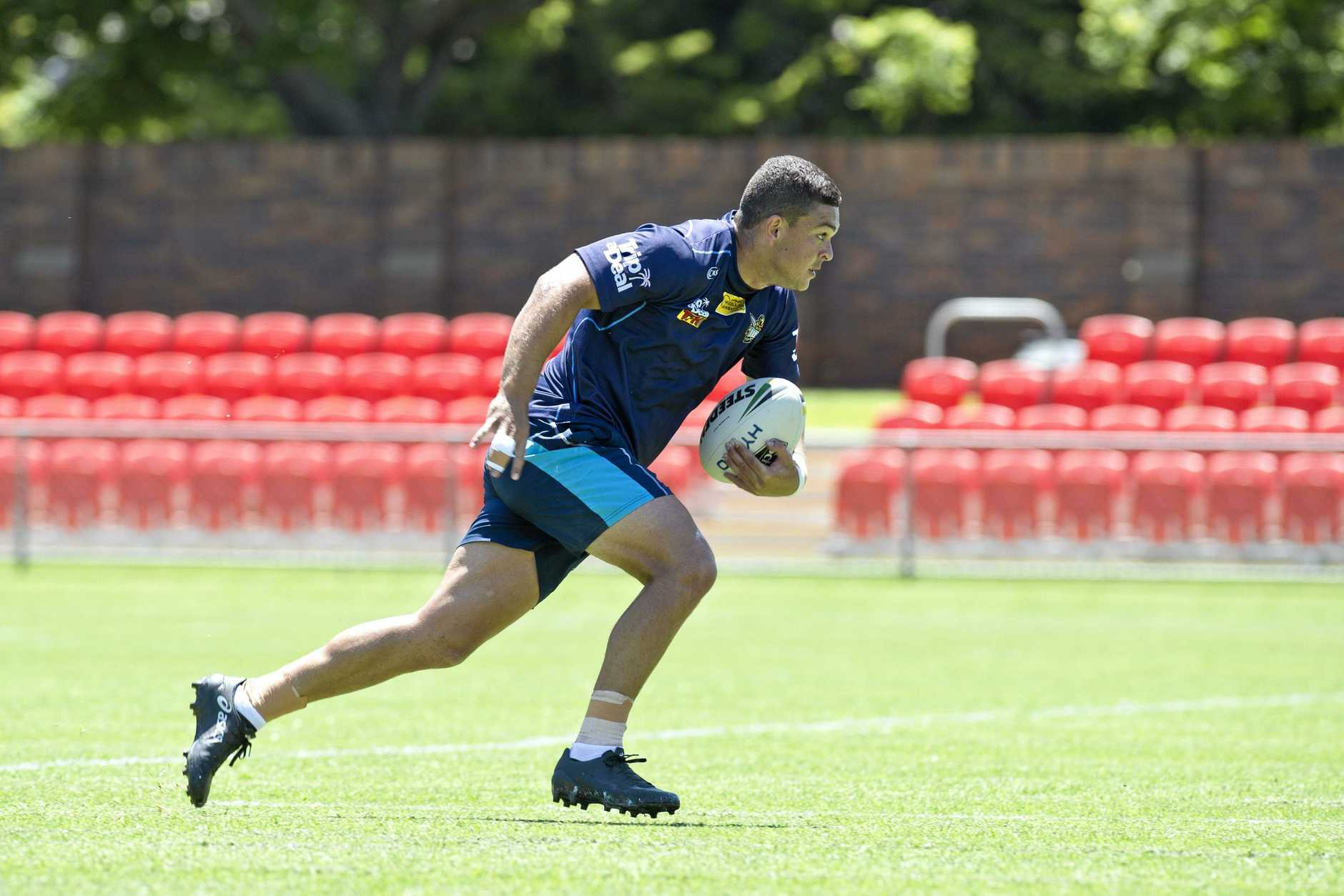 Ashley Taylor trains at Clive Berghofer Stadium in Toowoomba.