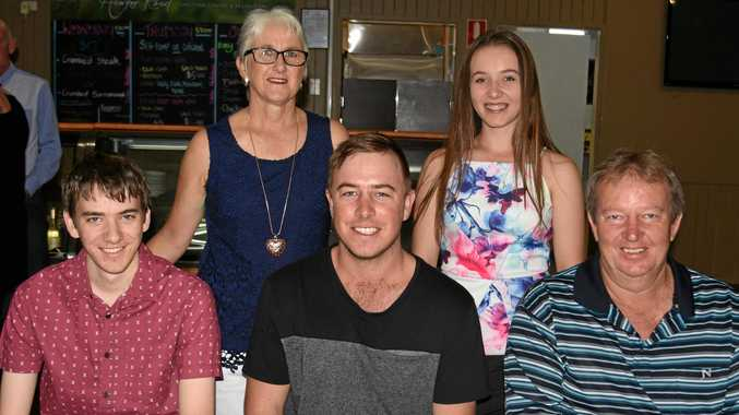 SPORT STARS: Junior Sports Star September 2017 winner Nikki Burraston (back, right) with (from left) brother Josh, mother Karen, brother Tim and father Greg Burraston at the 2018 Junior Sports Star of the Year awards.
