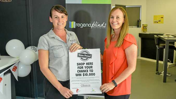 NEVER GIVE UP: Regency Blinds owner Nicole Kajewski with staff member Helen Gibbs, said she is proud of the Gladstone business community's resiliency.