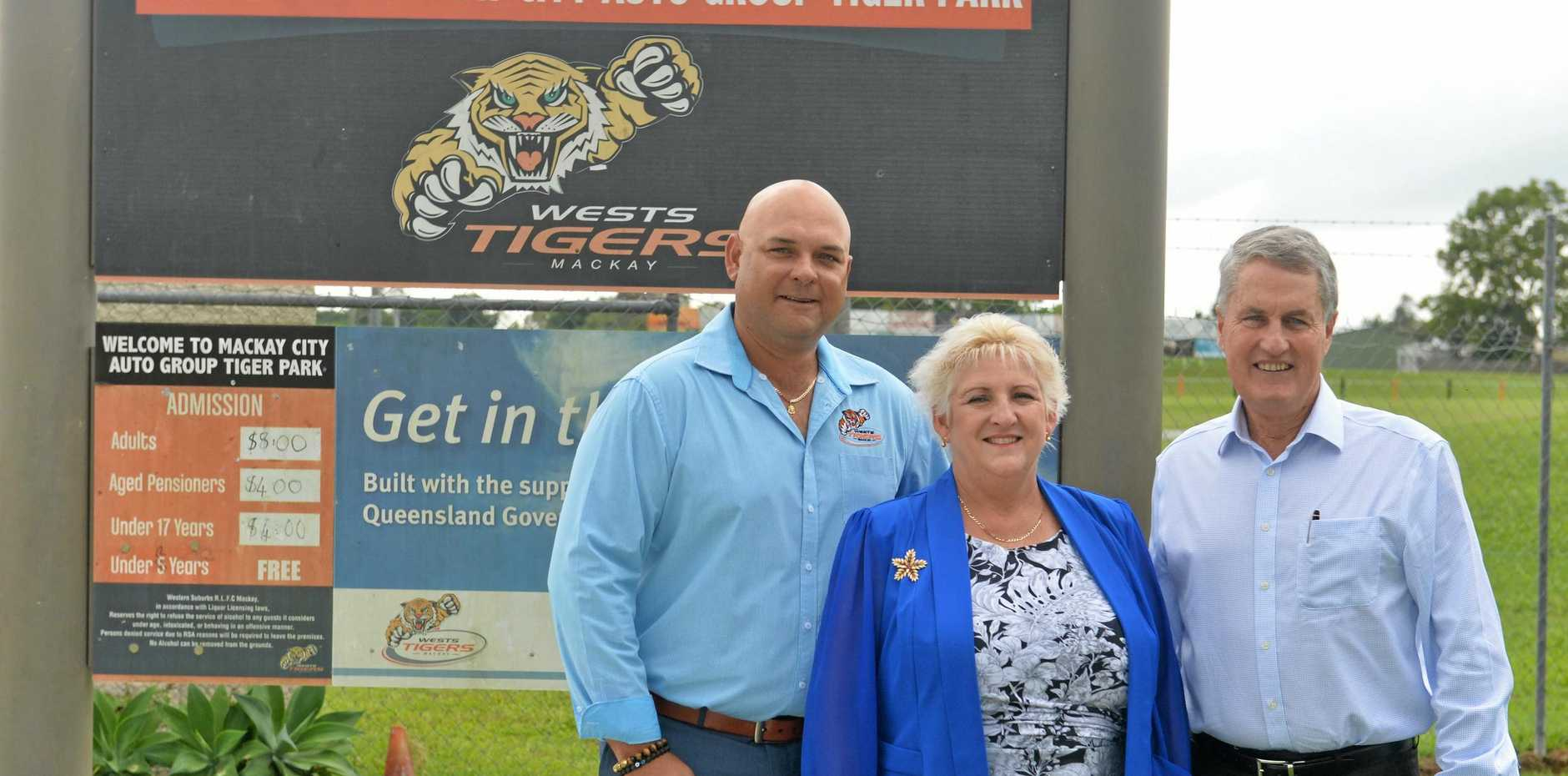 Western Suburbs Leagues Club manager Kingsley Thieber, Member for Capricornia Michelle Landry and Mackay Mayor Greg Williamson.