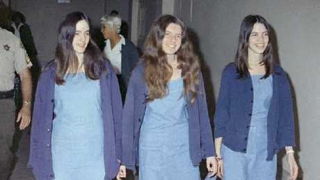 Charles Manson followers — Susan Atkins, Patricia Krenwinkel and Leslie Van Houten — walk to court over their roles in the 1969 cult killings.