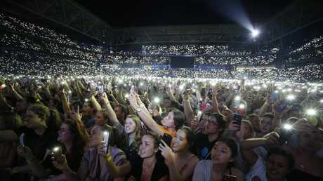 A massive crowd hung on every word from Ed Sheeran at Sunscorp Stadium in Brisbane. Picture: AAP/Josh Woning