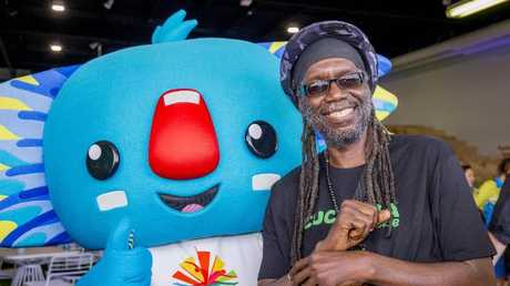British reggae star Macka B pictured with Games mascot Borobi. Picture: Jerad Williams
