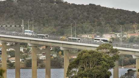 A collision between a truck and a car on the Tasman Bridge is expected to cause lengthy delays. Picture: MATHEW FARRELL