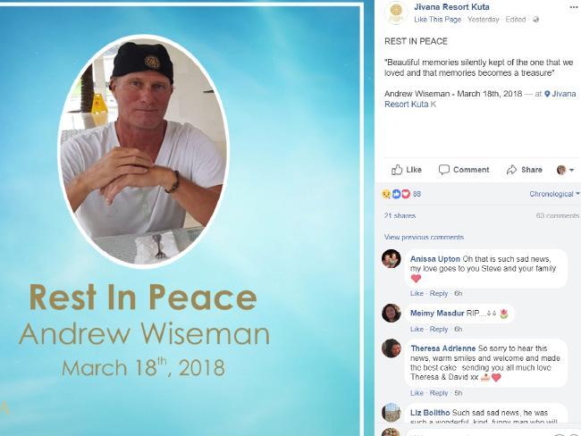 Jivana Resort Kuta posted a message on Facebook following Mr Wiseman's death. Picture: Facebook