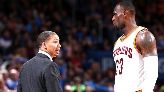 Cleveland Cavaliers coach Tyronn Lue and star LeBron James.